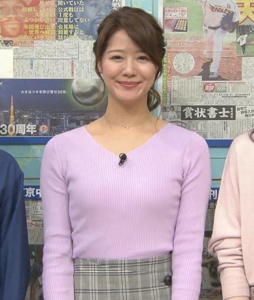 樺島彩アナ エロいニットおっぱいキャプ・エロ画像