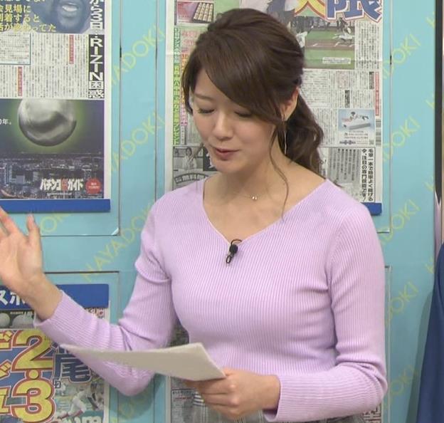 樺島彩アナ エロいニットおっぱいキャプ・エロ画像5