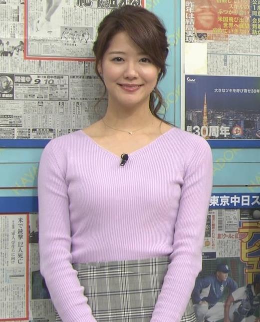樺島彩アナ エロいニットおっぱいキャプ・エロ画像8