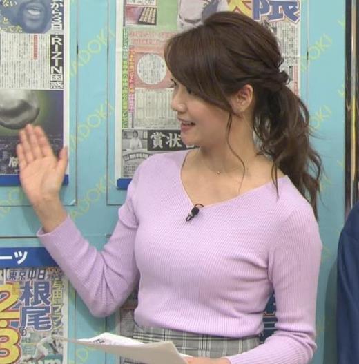 樺島彩アナ エロいニットおっぱいキャプ画像(エロ・アイコラ画像)
