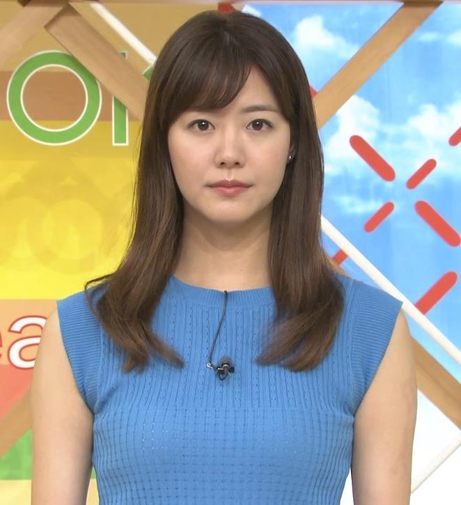 樺島彩アナ タイトなノースリーブのニットキャプ・エロ画像