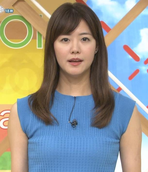 樺島彩アナ タイトなノースリーブのニットキャプ・エロ画像2