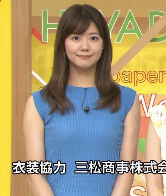 樺島彩アナ タイトなノースリーブのニットキャプ・エロ画像4
