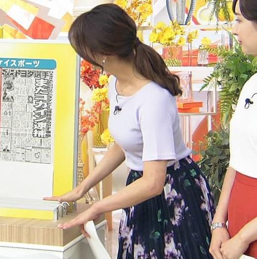 樺島彩アナ Tシャツ巨乳の横乳キャプ画像(エロ・アイコラ画像)