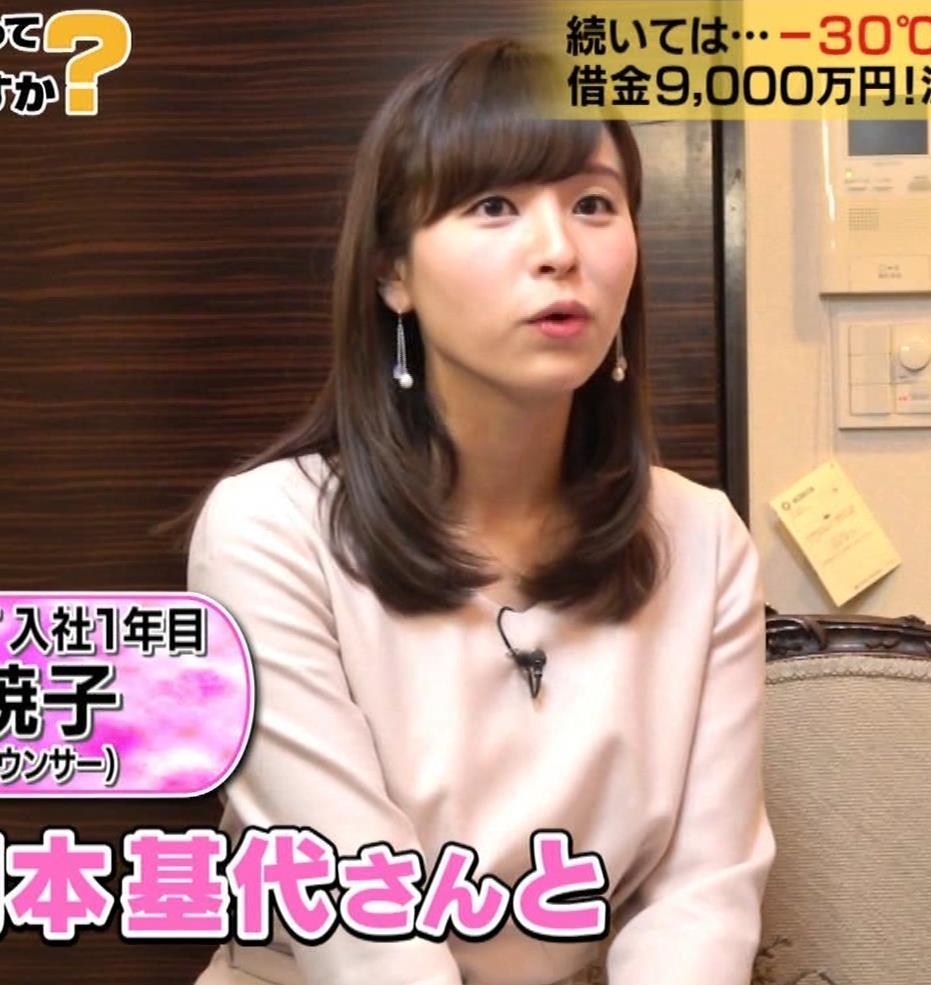 角谷暁子アナ 黒ストッキングキャプ・エロ画像