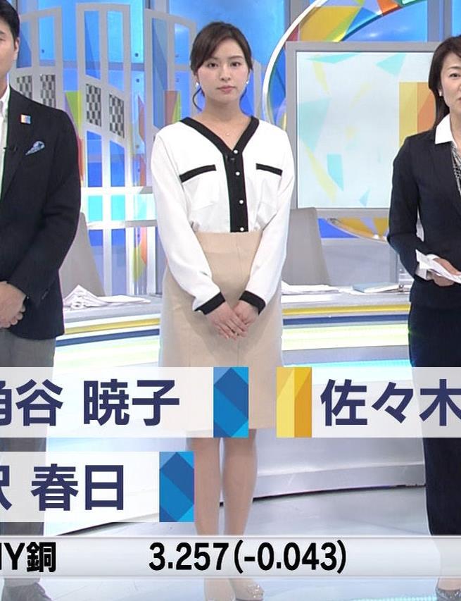 角谷暁子アナ タイトスカートのお尻キャプ・エロ画像