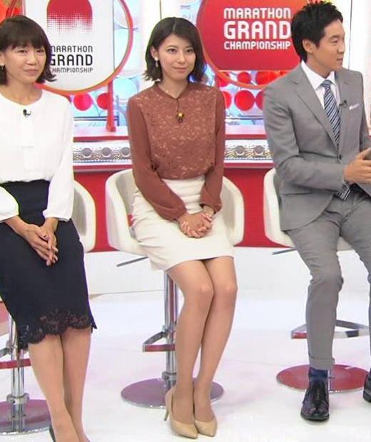 上村彩子アナ ミニスカートで座って美脚露出キャプ画像(エロ・アイコラ画像)