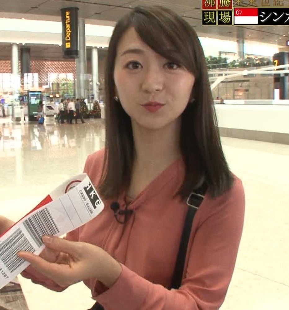 片渕茜アナ テレ東巨乳アナの横乳キャプ・エロ画像7