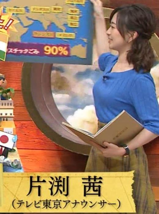 片淵茜アナ 横乳でデカいのがよくわかるキャプ画像(エロ・アイコラ画像)