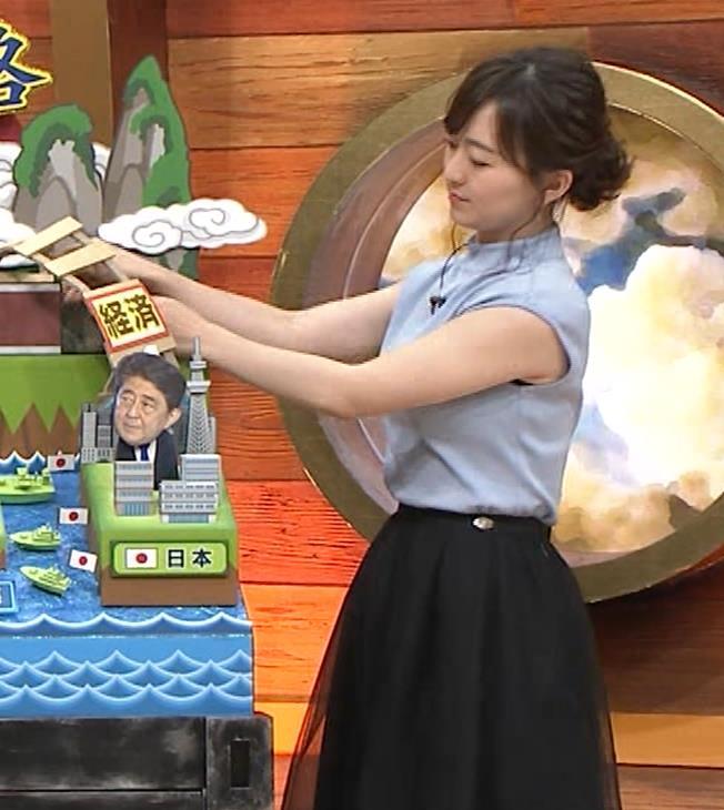 片渕茜アナ 巨乳ノースリーブからインナーちらりキャプ・エロ画像6