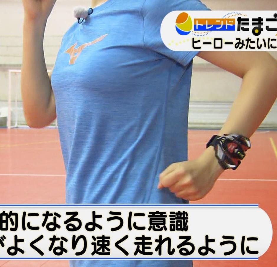 片渕茜アナ 巨乳がTシャツを着ると…キャプ・エロ画像4