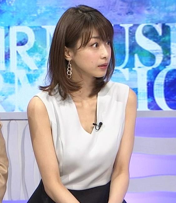 加藤綾子 Vネックで胸元がエロいノースリーブキャプ・エロ画像4