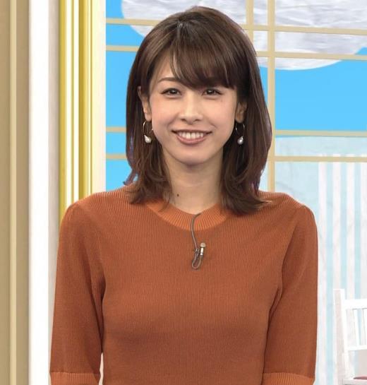 加藤綾子 エロく浮き出たニットおっぱいキャプ画像(エロ・アイコラ画像)