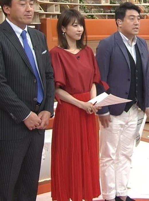 加藤綾子 赤いロングスカートキャプ画像(エロ・アイコラ画像)