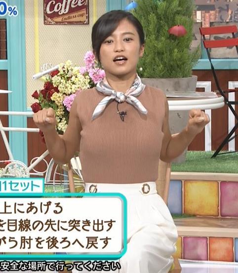 小島瑠璃子 裸に見えるような色のノースリーブで激しくおっぱいをアピールキャプ・エロ画像2