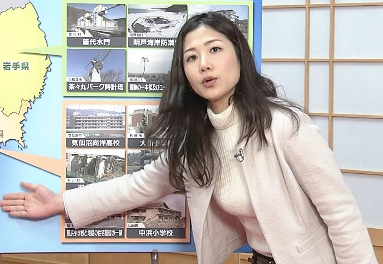 桑子真帆アナ ジャケットの下のニット巨乳キャプ・エロ画像13