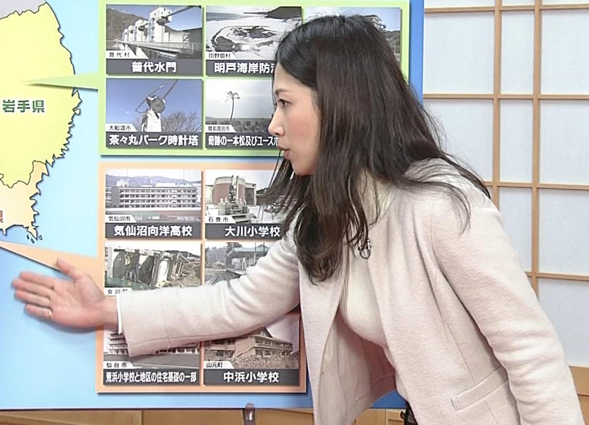 桑子真帆アナ ジャケットの下のニット巨乳キャプ・エロ画像14