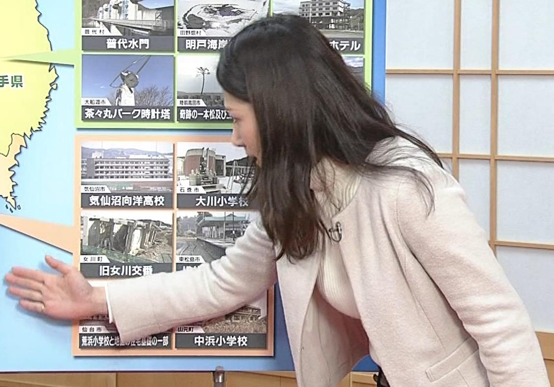 桑子真帆アナ ジャケットの下のニット巨乳キャプ・エロ画像15