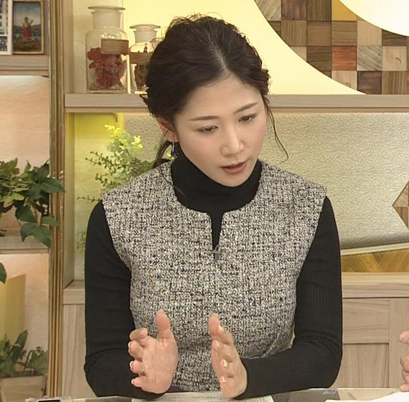 桑子真帆アナ 厚着でも胸の大きさがわかるキャプ・エロ画像4
