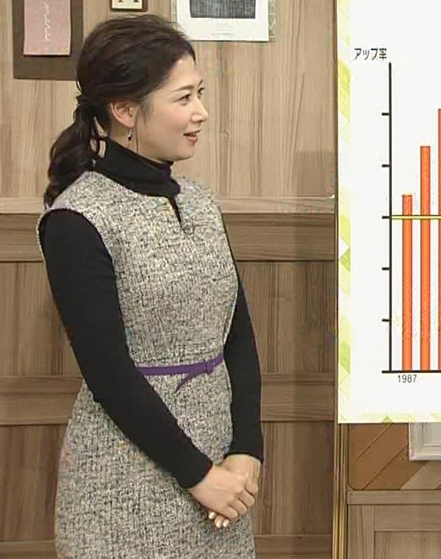 桑子真帆アナ 厚着でも胸の大きさがわかるキャプ・エロ画像7