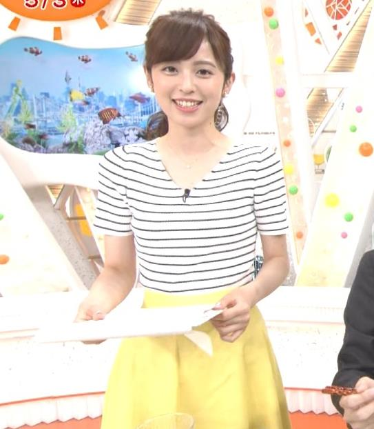 久慈暁子アナ 体のラインがでる薄手の横縞Tシャツキャプ・エロ画像