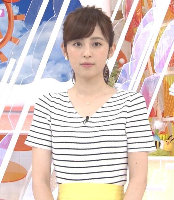 久慈暁子アナ 体のラインがでる薄手の横縞Tシャツキャプ・エロ画像2