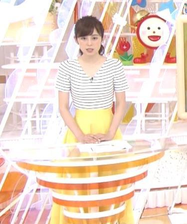 久慈暁子アナ 体のラインがでる薄手の横縞Tシャツキャプ・エロ画像4