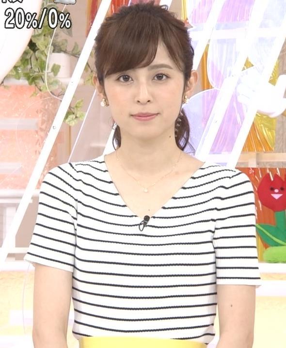 久慈暁子アナ 体のラインがでる薄手の横縞Tシャツキャプ・エロ画像10