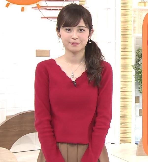 久慈暁子アナ Vネックのニット乳。キャプ・エロ画像