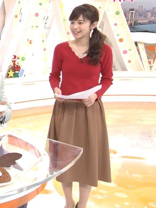 久慈暁子アナ Vネックのニット乳。キャプ・エロ画像2