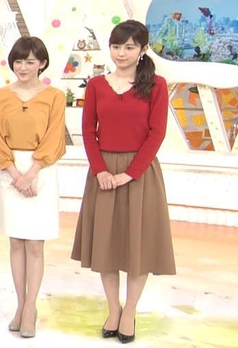 久慈暁子アナ Vネックのニット乳。キャプ・エロ画像3
