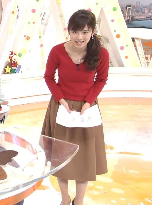 久慈暁子アナ Vネックのニット乳。キャプ・エロ画像4