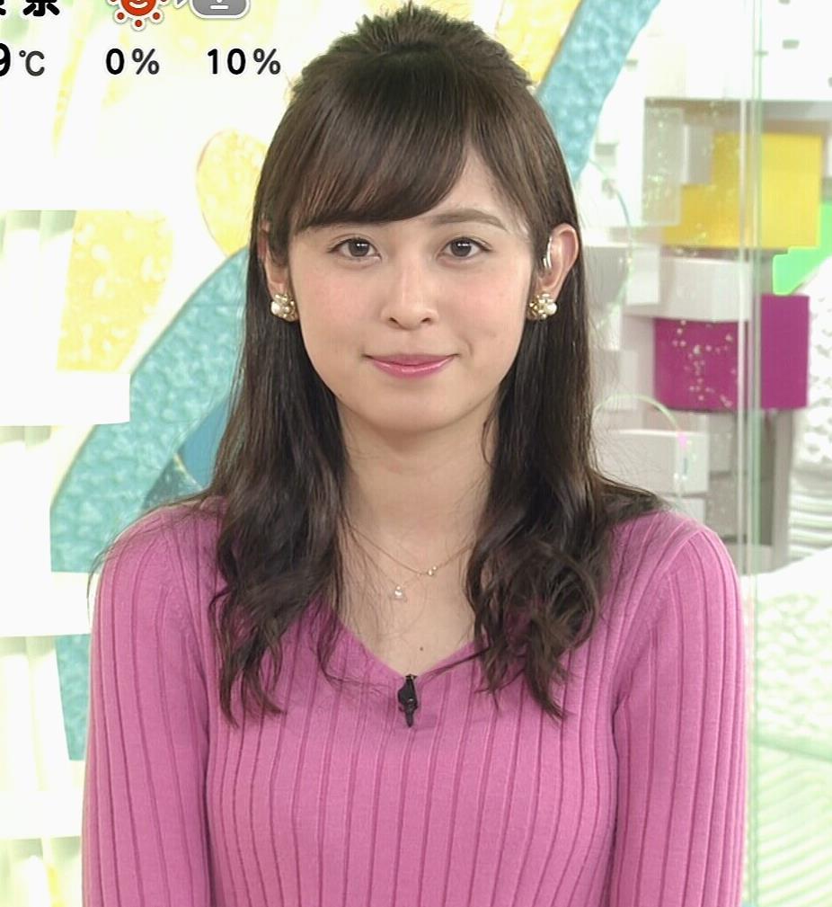 久慈暁子アナ ニット横乳★エロかわいいキャプ・エロ画像2