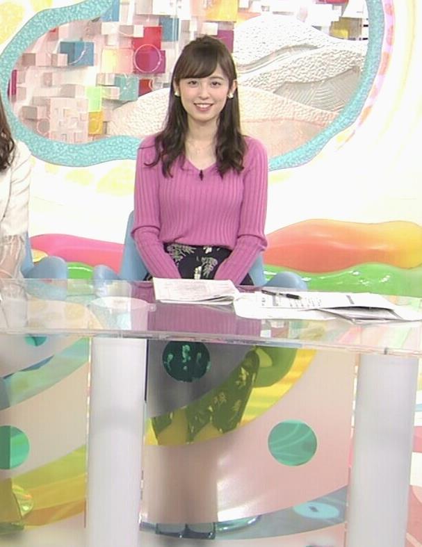 久慈暁子アナ ニット横乳★エロかわいいキャプ・エロ画像5