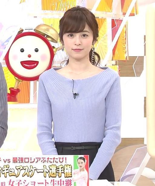 久慈暁子アナ 肩が露出気味のニットキャプ・エロ画像