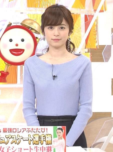 久慈暁子アナ 肩が露出気味のニットキャプ・エロ画像3