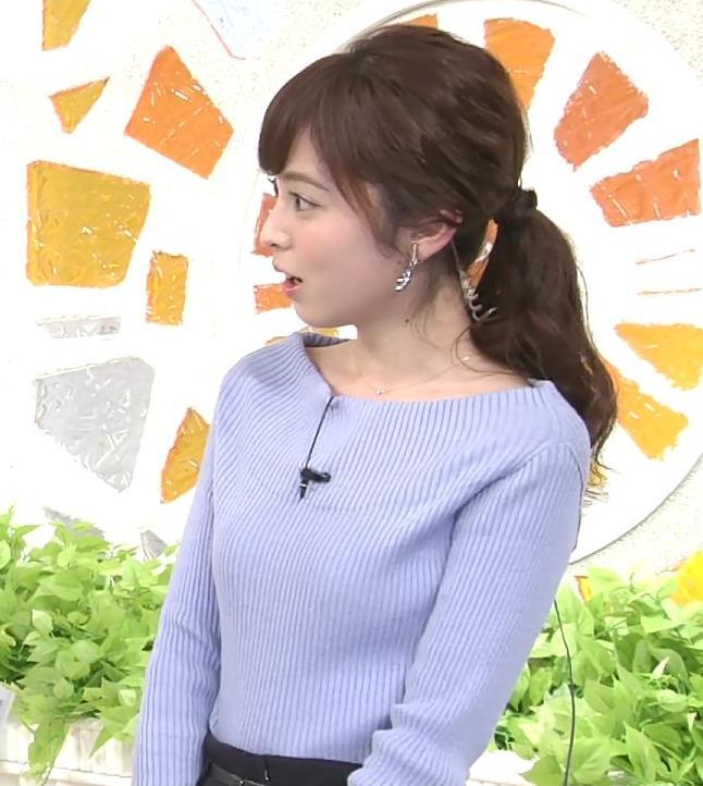 久慈暁子アナ 肩が露出気味のニットキャプ・エロ画像10