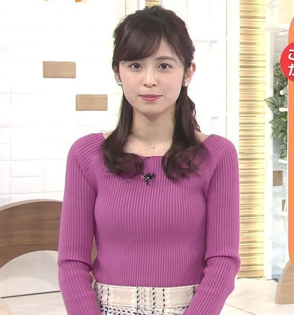 久慈暁子アナ クッキリ♡ニットおっぱいキャプ・エロ画像