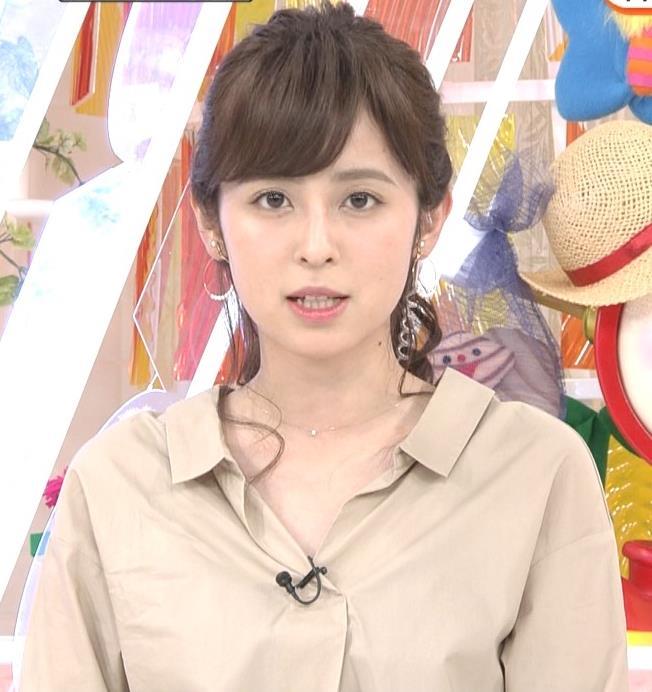 久慈暁子アナ はだけぎみシャツの胸元キャプ・エロ画像4
