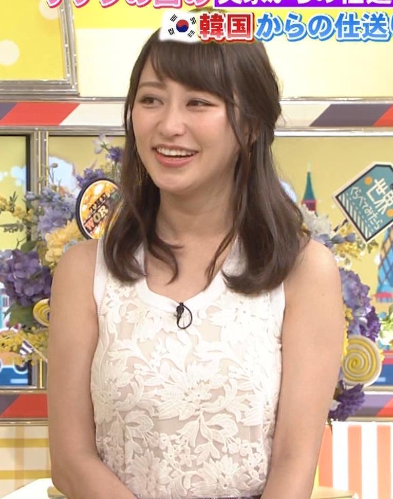 桝田絵理奈 前かがみでちょっと胸チラ&巨乳ノースリーブキャプ・エロ画像12