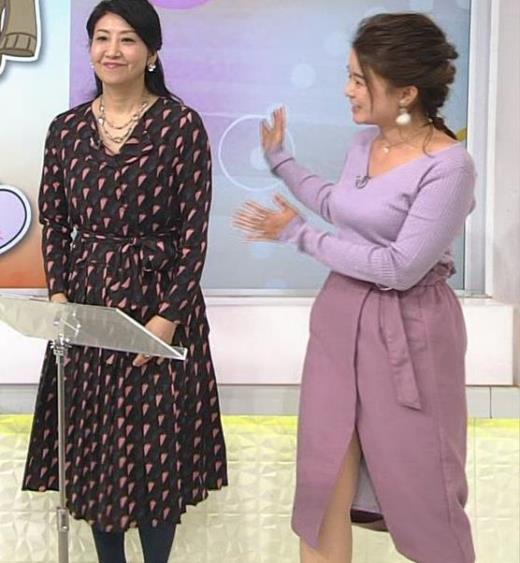 松尾衣里子 ニット乳とスカートのスリットがエロいキャプ画像(エロ・アイコラ画像)