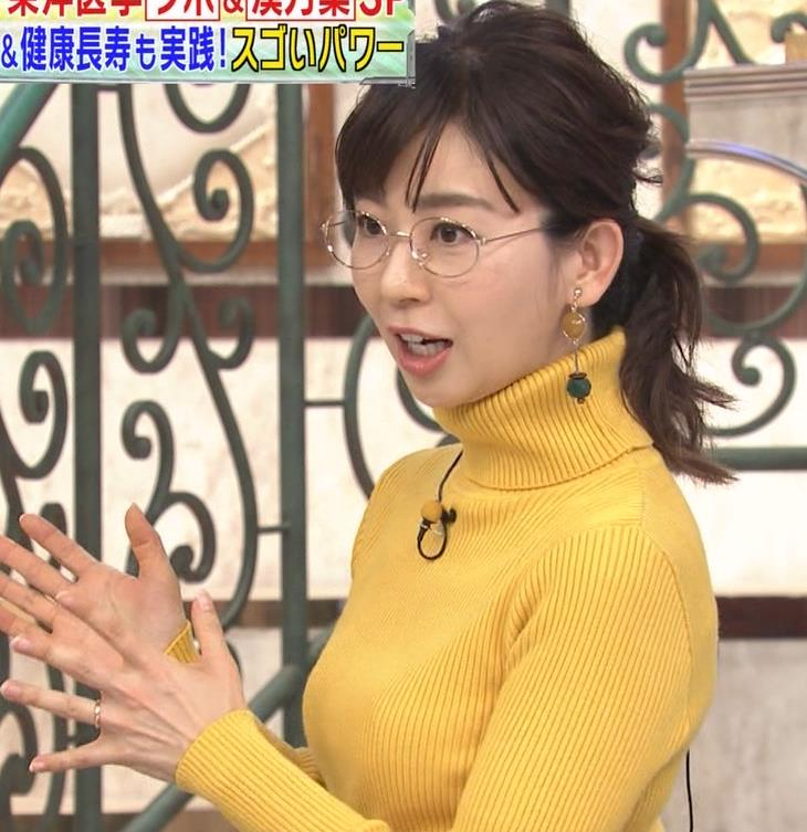 松尾由美子アナ ニット横乳キャプ・エロ画像2