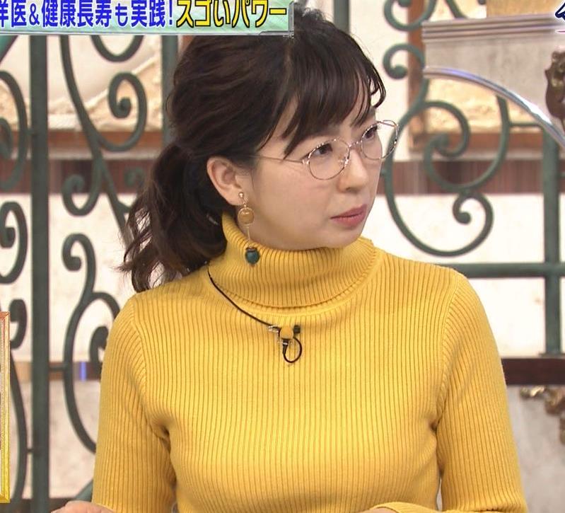 松尾由美子アナ ニット横乳キャプ・エロ画像4