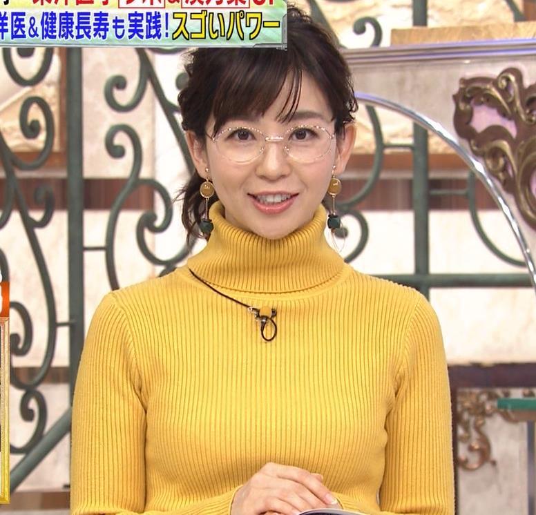 松尾由美子アナ ニット横乳キャプ・エロ画像9
