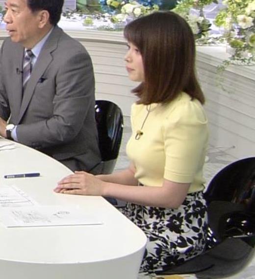 皆川玲奈アナ おっぱいがクッキリするニットキャプ画像(エロ・アイコラ画像)
