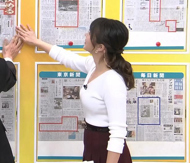 皆川玲奈アナ 朝からおっぱいがエロ過ぎキャプ・エロ画像