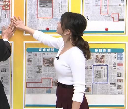 皆川玲奈アナ 朝からおっぱいがエロ過ぎキャプ画像(エロ・アイコラ画像)