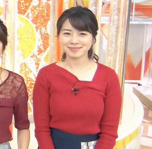 皆川玲奈アナ ニット巨乳キャプ・エロ画像7