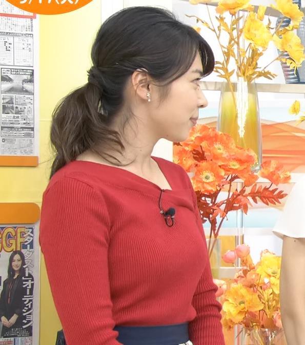 皆川玲奈アナ ニット巨乳キャプ・エロ画像9