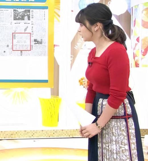皆川玲奈アナ ニット巨乳キャプ画像(エロ・アイコラ画像)